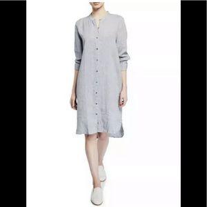 Eileen fisher organic linen hanky shirtdress grey